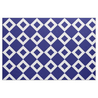 Navy and White Diamond Pattern Fabric