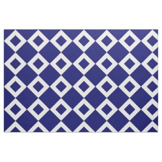 Navy and White Diamond Pattern Fabric