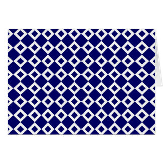 Navy and White Diamond Pattern Greeting Card