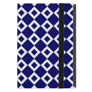 Navy and White Diamond Pattern iPad Mini Cover