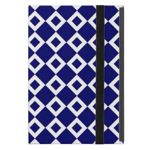 Navy and White Diamond Pattern iPad Mini Cover