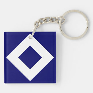 Navy and White Diamond Pattern Double-Sided Square Acrylic Keychain