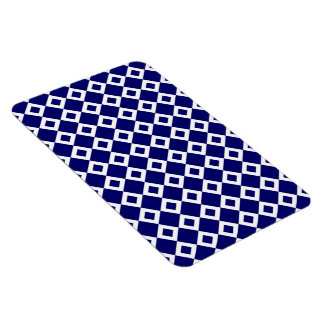 Navy and White Diamond Pattern Magnet