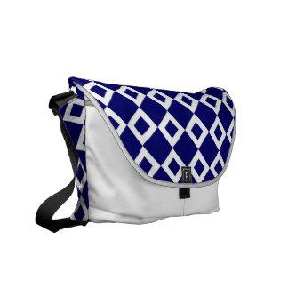 Navy and White Diamond Pattern Messenger Bag