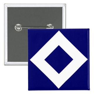 Navy and White Diamond Pattern Pinback Button