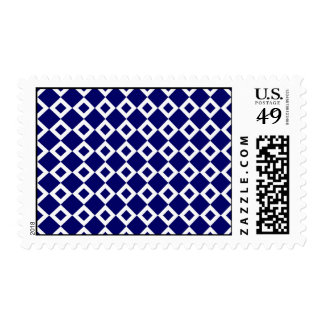 Navy and White Diamond Pattern Postage