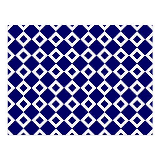 Navy and White Diamond Pattern Postcard