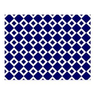 Navy and White Diamond Pattern Postcard