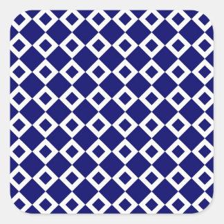 Navy and White Diamond Pattern Square Sticker