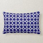 Navy and White Diamond Pattern Throw Pillow