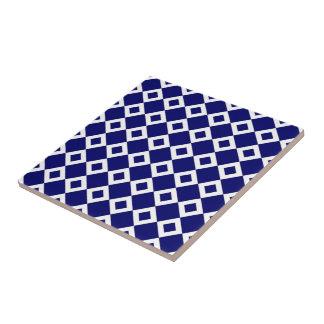 Navy and White Diamond Pattern Tile