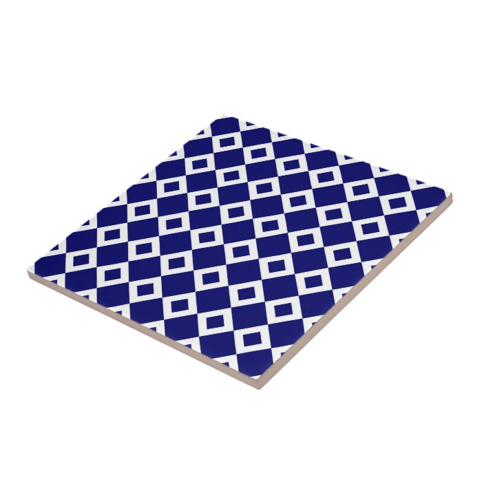 Navy and White Diamond Pattern Tile