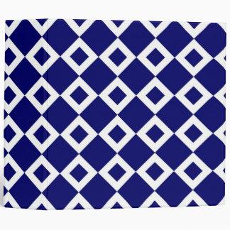 Navy and White Diamond Pattern Vinyl Binders