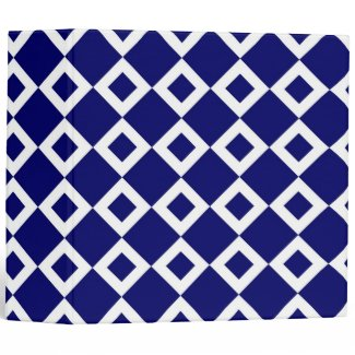 Navy and White Diamond Pattern Vinyl Binders