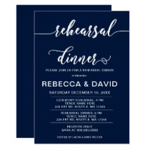 Navy and White Elegant Script Rehearsal Dinner Card
