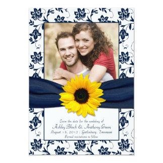 Navy and White Floral Damask Save the Date Invite