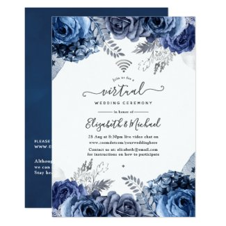 Navy and White Online Virtual Wedding Invitations, Floral