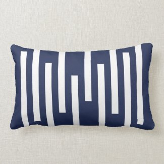 Navy and White Geometric Line Pattern Lumbar Pillow