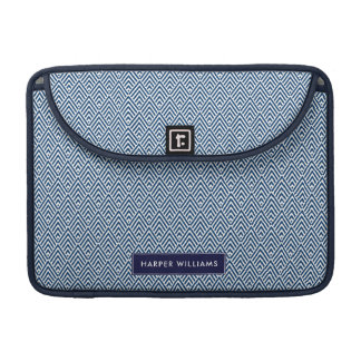 Navy and White Geometric Pattern with Custom Name MacBook Pro Sleeve