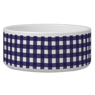 Navy and White Gingham Bowl