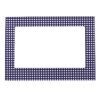 Navy and White Gingham Magnetic Photo Frame
