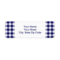 Navy and White Gingham Pattern address label