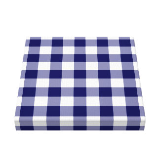Navy and White Gingham Pattern Canvas Print