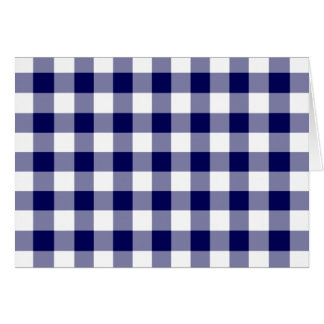 Navy and White Gingham Pattern Card