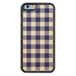 Navy and White Gingham Pattern Carved® Maple iPhone 6 Bumper Case