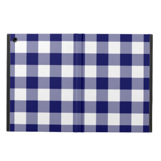 Navy and White Gingham Pattern Case For iPad Air