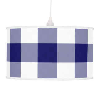 Navy and White Gingham Pattern Ceiling Lamp