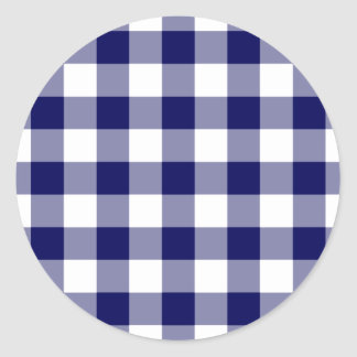 Navy and White Gingham Pattern Classic Round Sticker