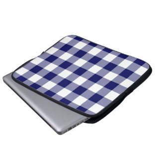 Navy and White Gingham Pattern Computer Sleeve