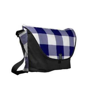 Navy and White Gingham Pattern Courier Bag
