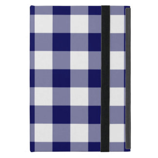 Navy and White Gingham Pattern Covers For iPad Mini