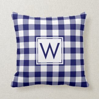 Navy and White Gingham Pattern, Custom Monogram Throw Pillow