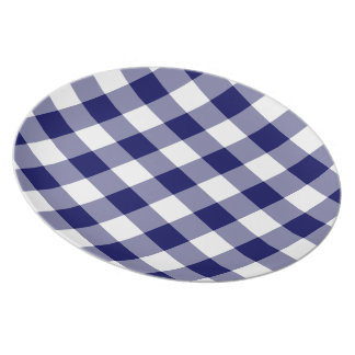 Navy and White Gingham Pattern Dinner Plate