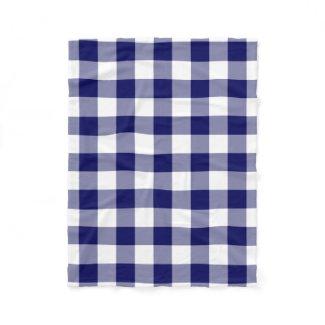 Navy and White Gingham Pattern Fleece Blanket