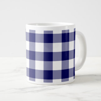 Navy and White Gingham Pattern Giant Coffee Mug