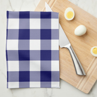 Navy and White Gingham Pattern Hand Towel