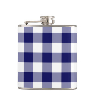 Navy and White Gingham Pattern Hip Flask