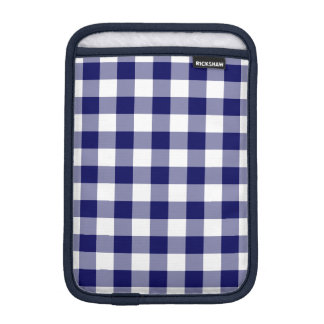 Navy and White Gingham Pattern iPad Mini Sleeve