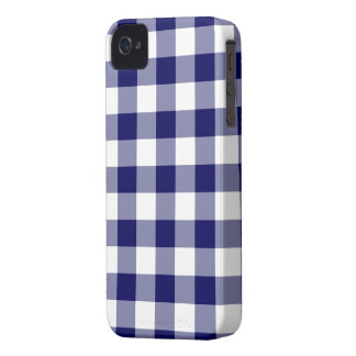 Navy and White Gingham Pattern iPhone 4 Case