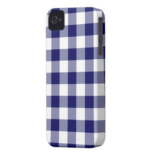 Navy and White Gingham Pattern iPhone 4 Cover