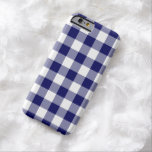 Navy and White Gingham Pattern iPhone 6 Case