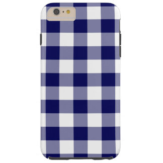 Navy and White Gingham Pattern iPhone 6 Plus Case