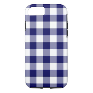 Navy and White Gingham Pattern iPhone 7 Tough Case