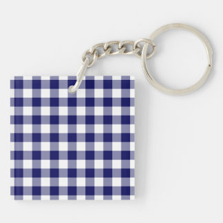 Navy and White Gingham Pattern Keychain