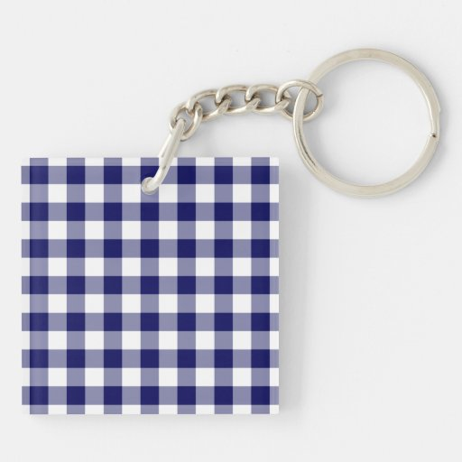 Navy and White Gingham Pattern Double-Sided Square Acrylic Keychain