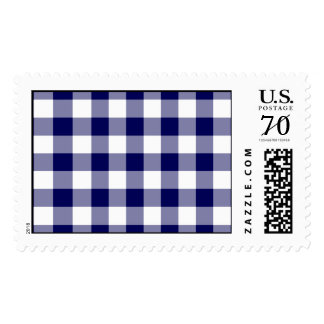Navy and White Gingham Pattern – Large Postage